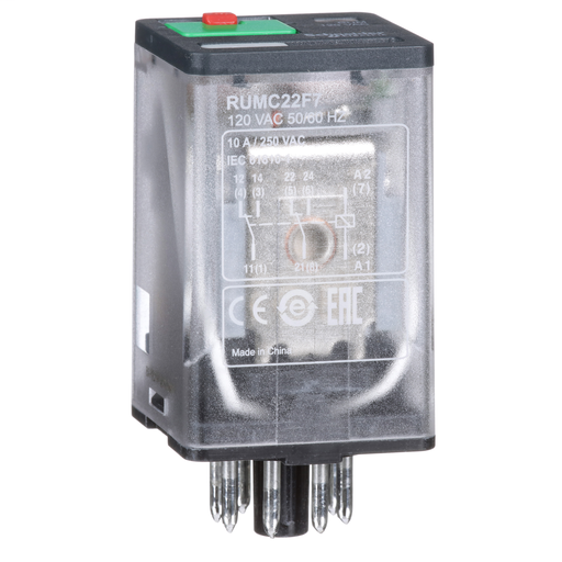 Mayer-Zelio RUM, universal plugin relay, 2 C/O, octal base, 10 A, 120 VAC, with LED-1