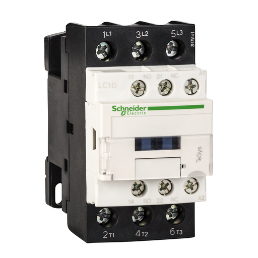 Mayer-IEC contactor, TeSys D, nonreversing, 25A, 15HP at 480VAC, 3 phase, 3 pole, 3 NO, 120VAC 50/60Hz coil, open style-1