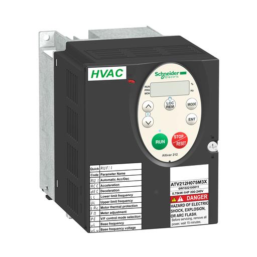 Mayer-variable speed drive ATV212 - 2.2kW - 3hp - 240V - 3ph - wo EMC - IP21-1