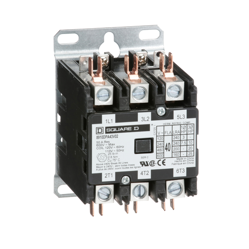 Mayer-Contactor, Definite Purpose, 40A, 3 pole, 25 HP at 575 VAC, 3 phase, 110/120 VAC 50/60 Hz coil, open-1