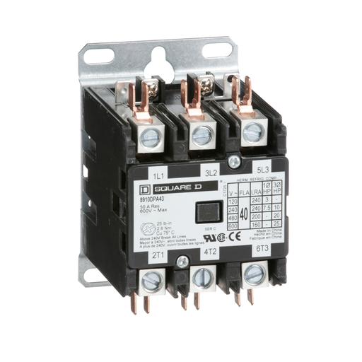 Mayer-Contactor, Definite Purpose, 40A, 3 pole, 25 HP at 575 VAC, 3 phase, 277 VAC 60 Hz coil, open-1