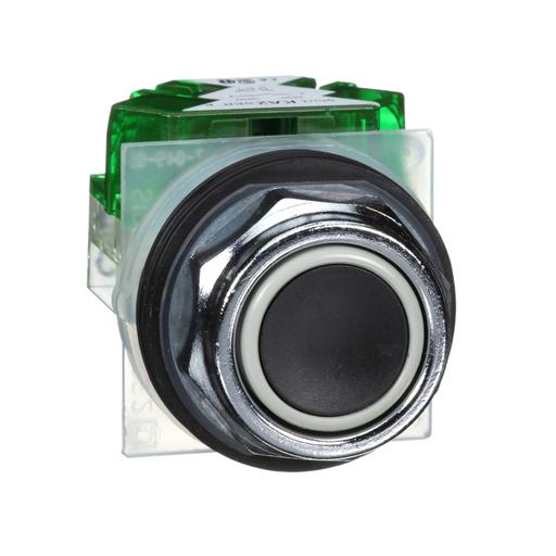 Mayer-30mm Push Button, Type K, push button, full guard, black, 1 NO-1