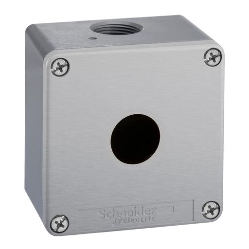 Mayer-Empty enclosure, zinc alloy, grey RAL 7032, 1 cut-out, Ø22 mm, 80x80x77 mm-1