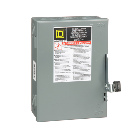 Mayer-Safety switch, general duty, fusible, 30A, 2 poles, 7.5 hp, 120 VAC, NEMA 1, neutral factory installed-1