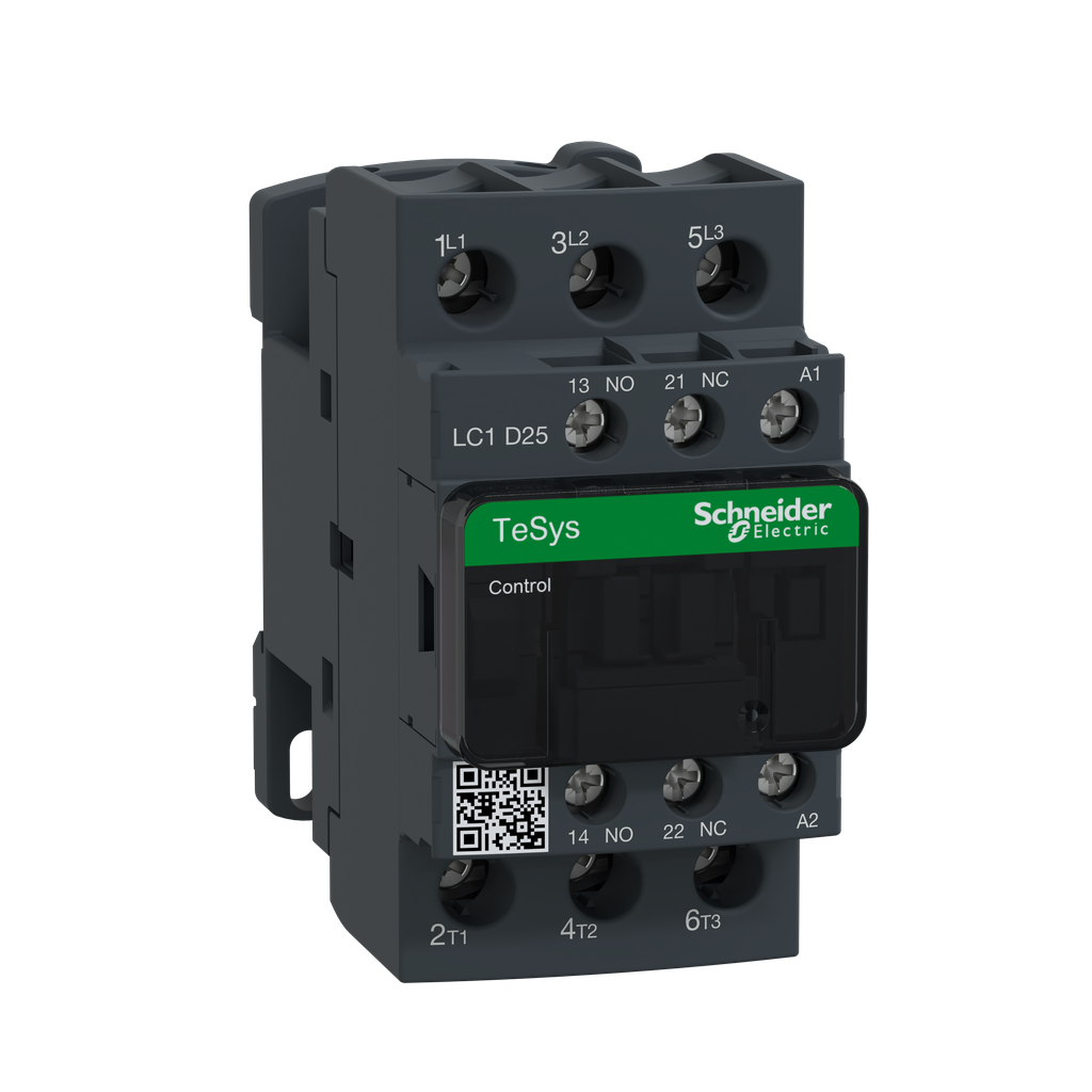 Mayer-IEC contactor, TeSys D, nonreversing, 25A, 15HP at 480VAC, up to 100kA SCCR, 3 phase, 3 NO, 48VAC 50/60Hz coil, open-1