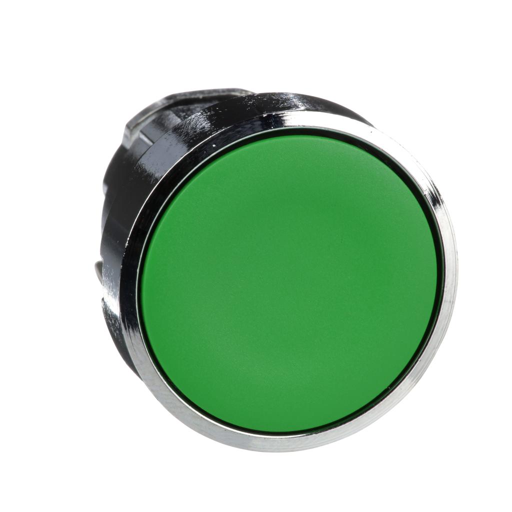 Mayer-Harmony, 22mm Push Button, flush push button head, spring return, green, unmarked-1