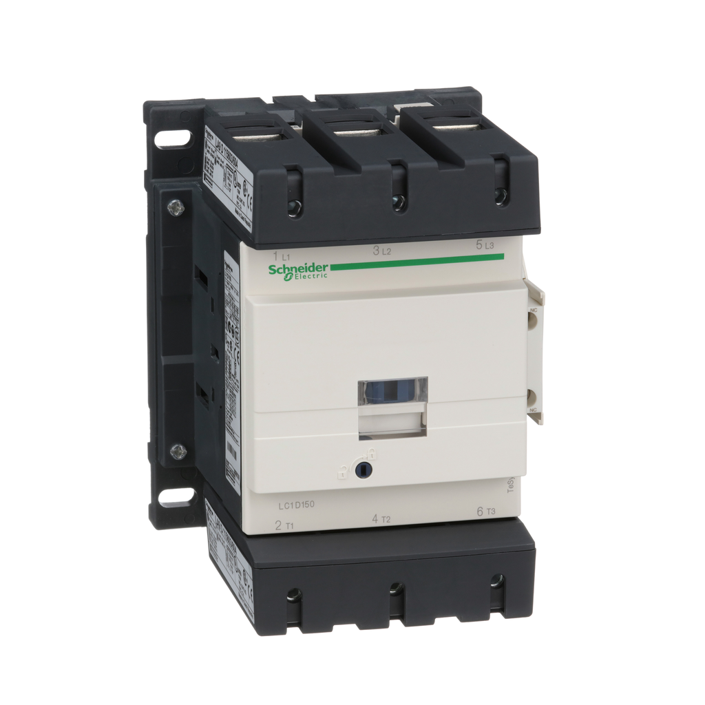 Mayer-IEC contactor, TeSys D, nonreversing, 150A, 100HP at 480VAC, up to 100kA SCCR, 3 phase, 3 NO, 115VAC 50/60Hz coil, open-1