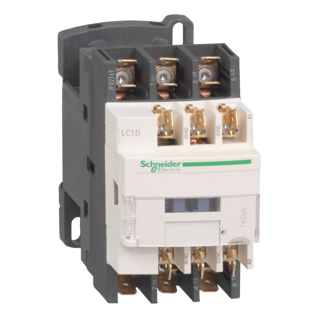 Mayer-IEC contactor, TeSys D, nonreversing, 12A, 7.5HP at 480VAC, 3 phase, 3 pole, 3 NO, 72VDC coil, open style-1