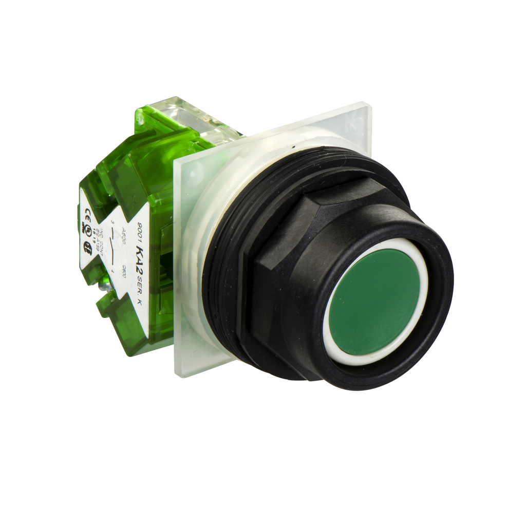 Mayer-green pushbutton Ø 30 - high guard - spring return - 1NO-1