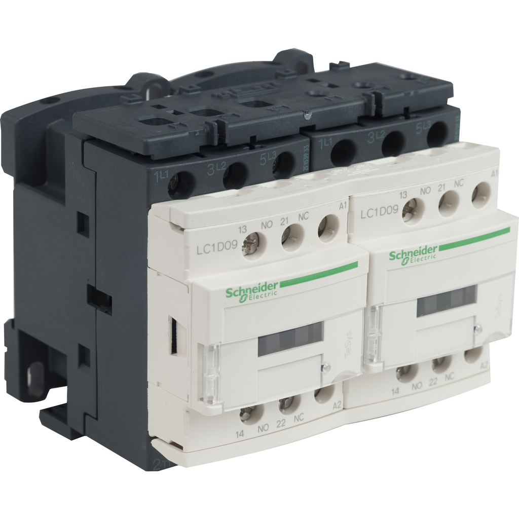 Mayer-IEC contactor, TeSys D reversing, 9A, 5HP at 480VAC, 3 phase, 3P, 3NO, 120VAC 50/60Hz coil, open style-1