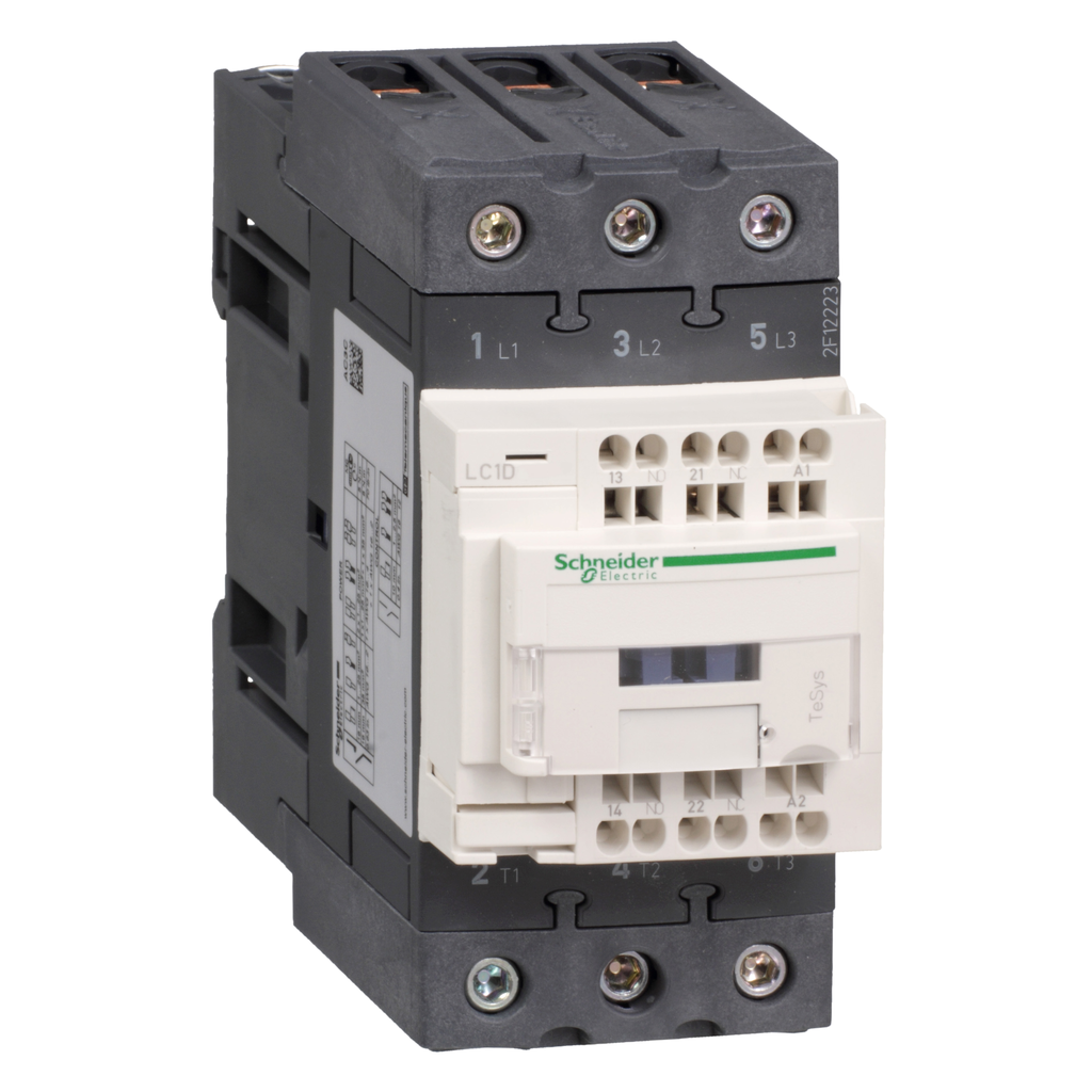 Mayer-IEC contactor, TeSys D, nonreversing, 50A, 40HP at 480VAC, 3 phase, 3 pole, 3 NO, 24VDC coil, open style-1