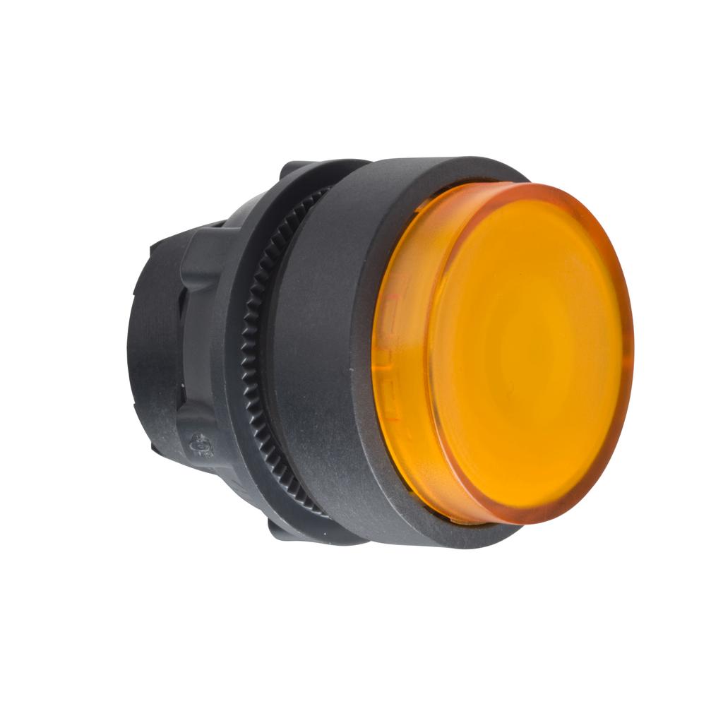Mayer-Head for illuminated push button, Harmony XB5, XB4, orange projecting pushbutton Ø22 mm spring return integral LED-1
