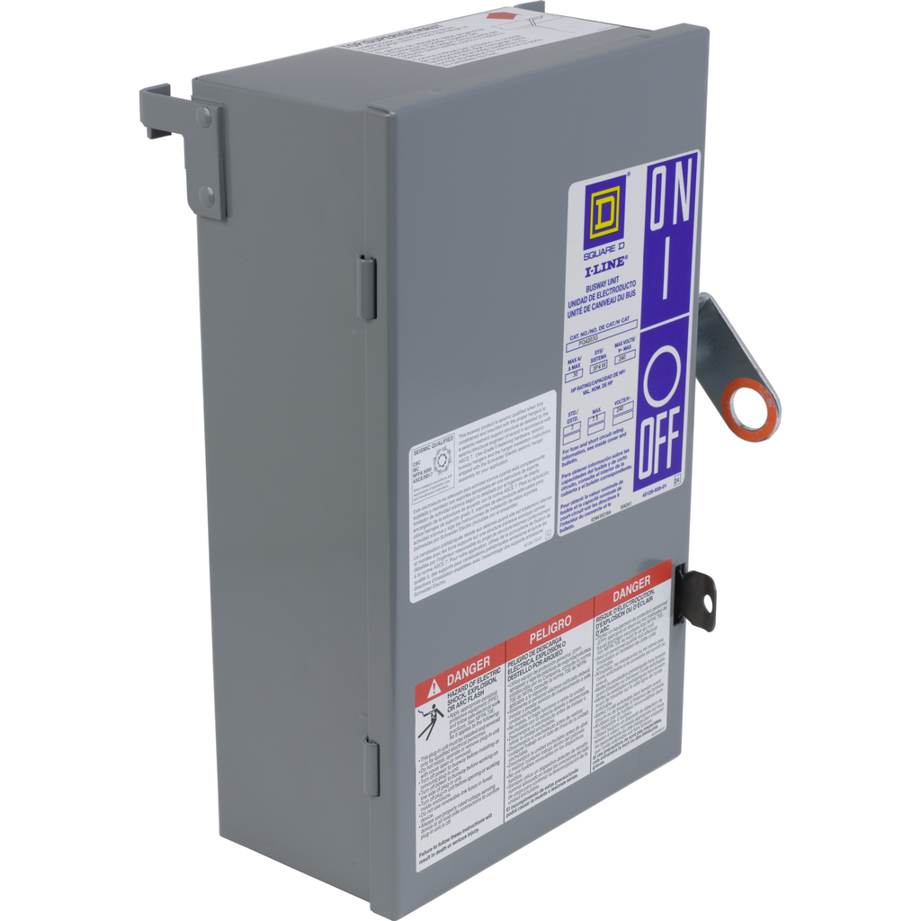 Mayer-Fusible Busway Plug-In Unit, 200A, 3 pole, 3 fuse and G, 240VAC, class R-1