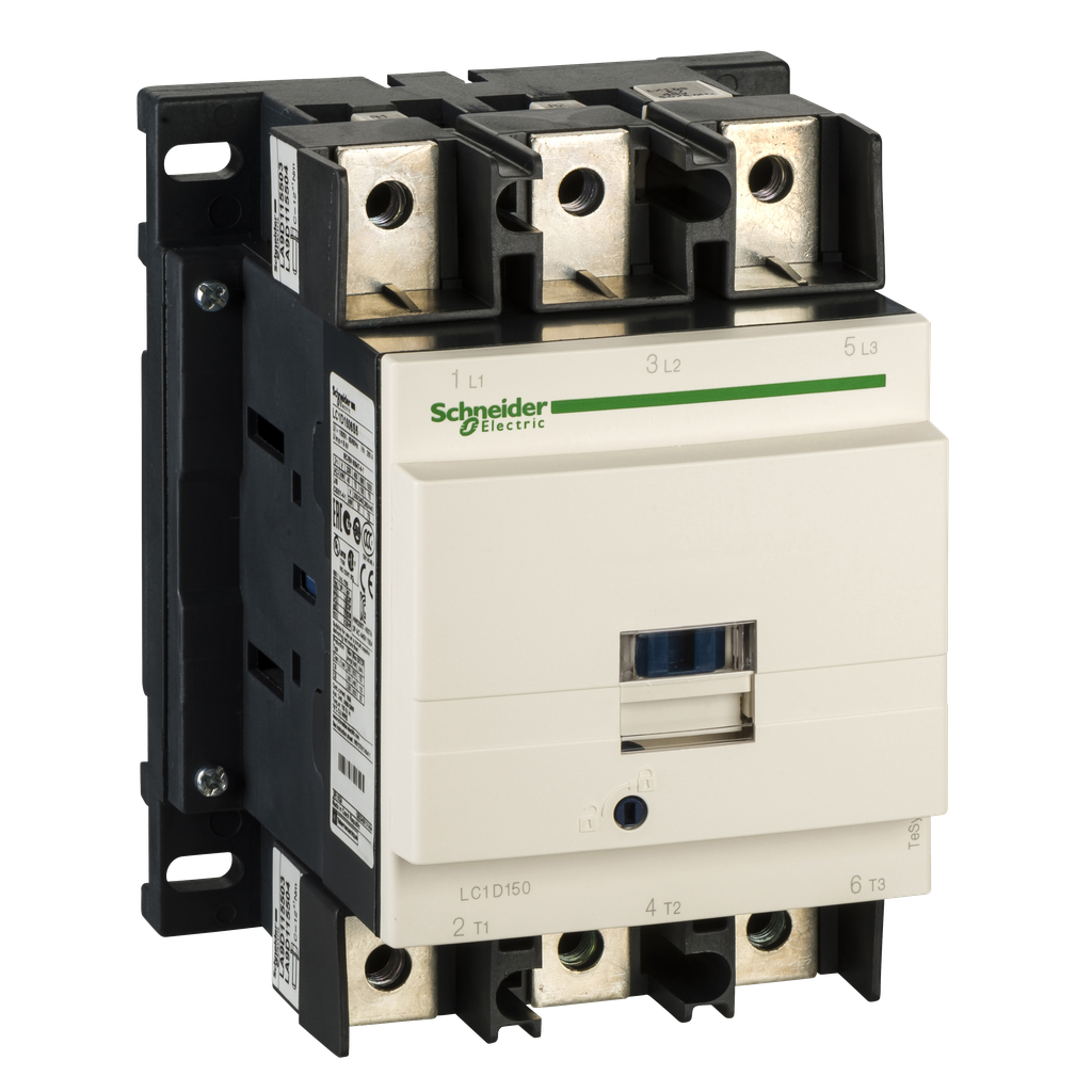 Mayer-IEC contactor, TeSys D, nonreversing, 150A, 100HP at 480VAC, 3 phase, 3 pole, 3 NO, 120VAC 50/60Hz coil, open style-1