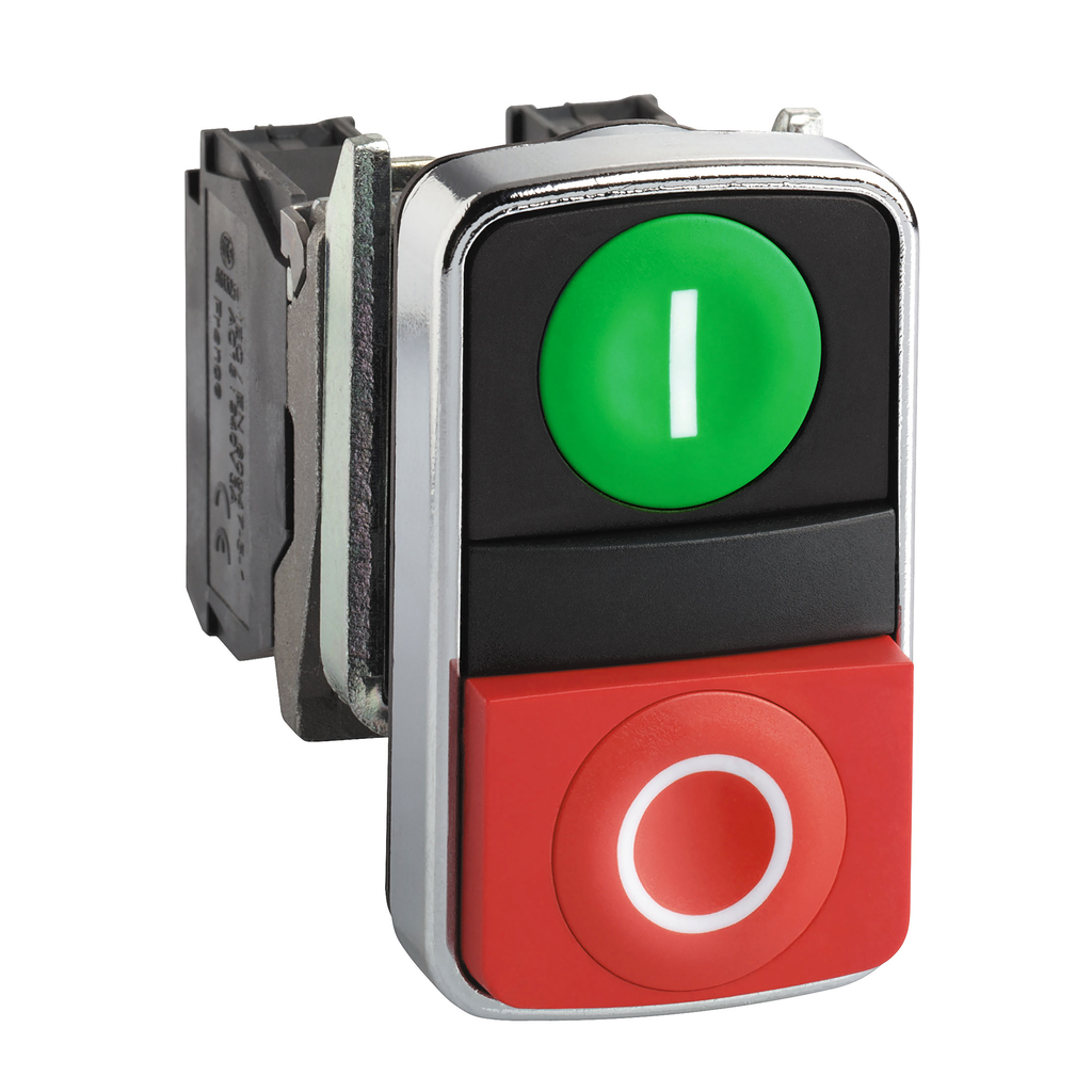 Mayer-Harmony XB4, Double-headed push button head, metal, Ø22, 1 green flush marked I + 1 red flush marked O-1