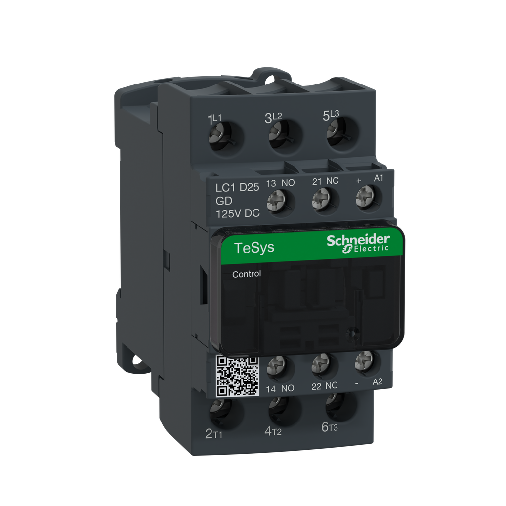 Mayer-IEC contactor, TeSys D, nonreversing, 25A, 15HP at 480VAC, up to 100kA SCCR, 3 phase, 3 NO, 125VDC coil, open style-1