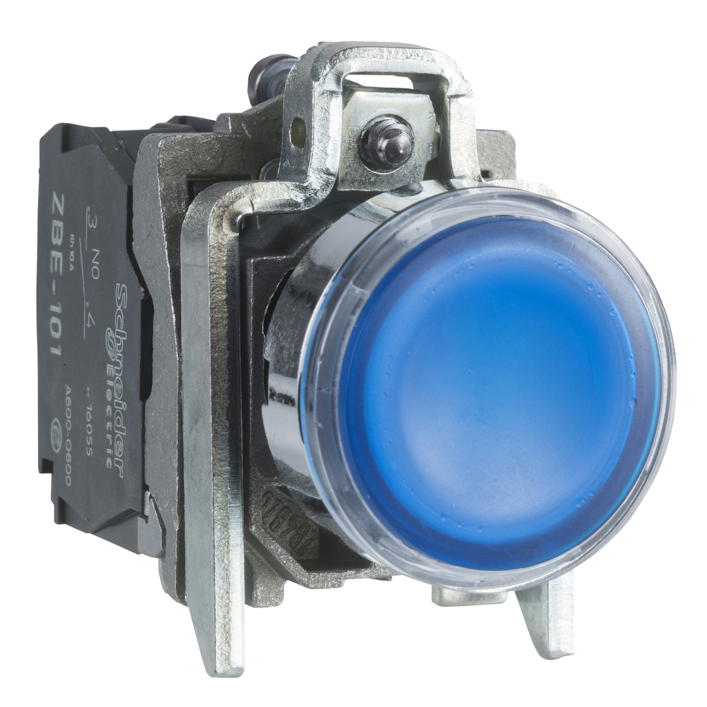 Mayer-Harmony XB4, Illuminated push button, metal, flush, blue, Ø22, spring return, 1 NO + 1 NC 24 V AC/DC-1