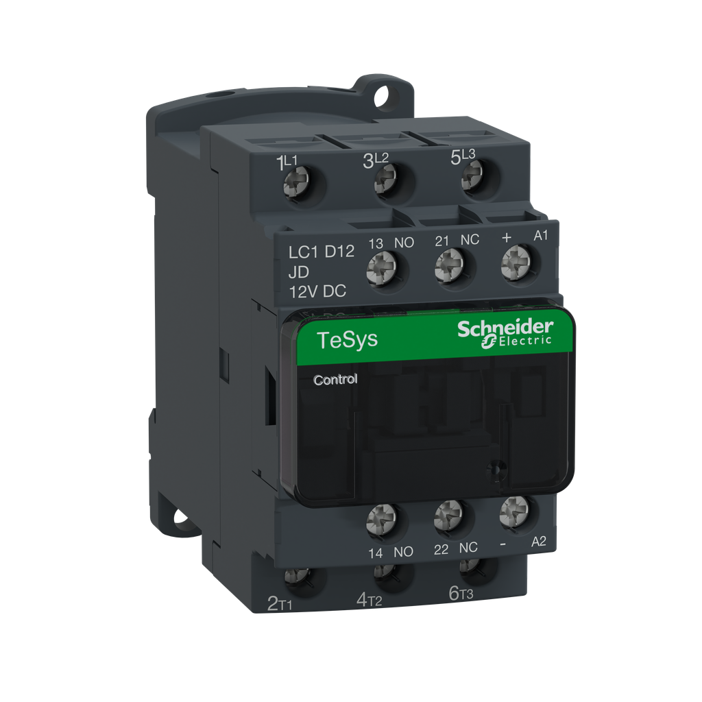 Mayer-IEC contactor, TeSys D, nonreversing, 12A, 7.5HP at 480VAC, up to 100kA SCCR, 3 phase, 3 NO, 12VDC coil, open style-1