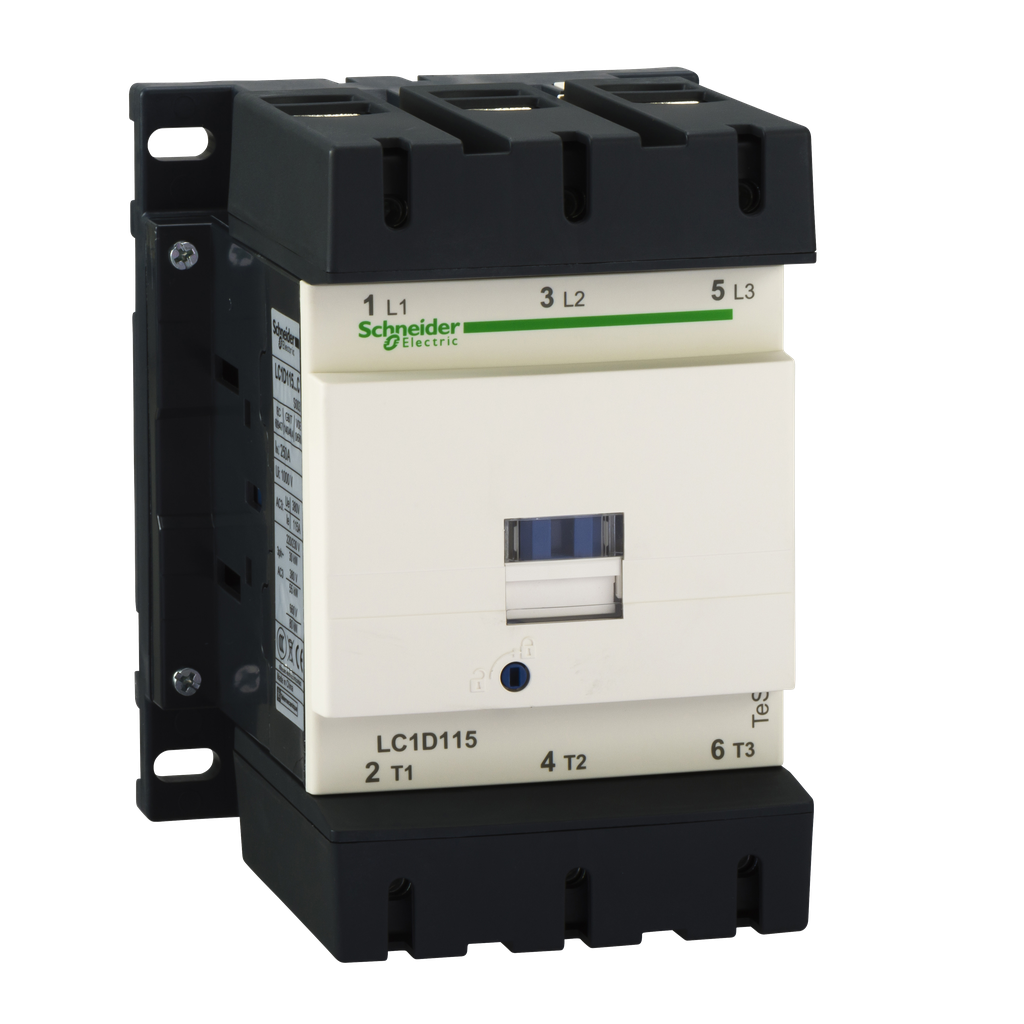 Mayer-IEC contactor, TeSys D, nonreversing, 115A, 75HP at 480VAC, up to 100kA SCCR, 3 phase, 3 NO, 120VAC 60Hz coil, open style-1