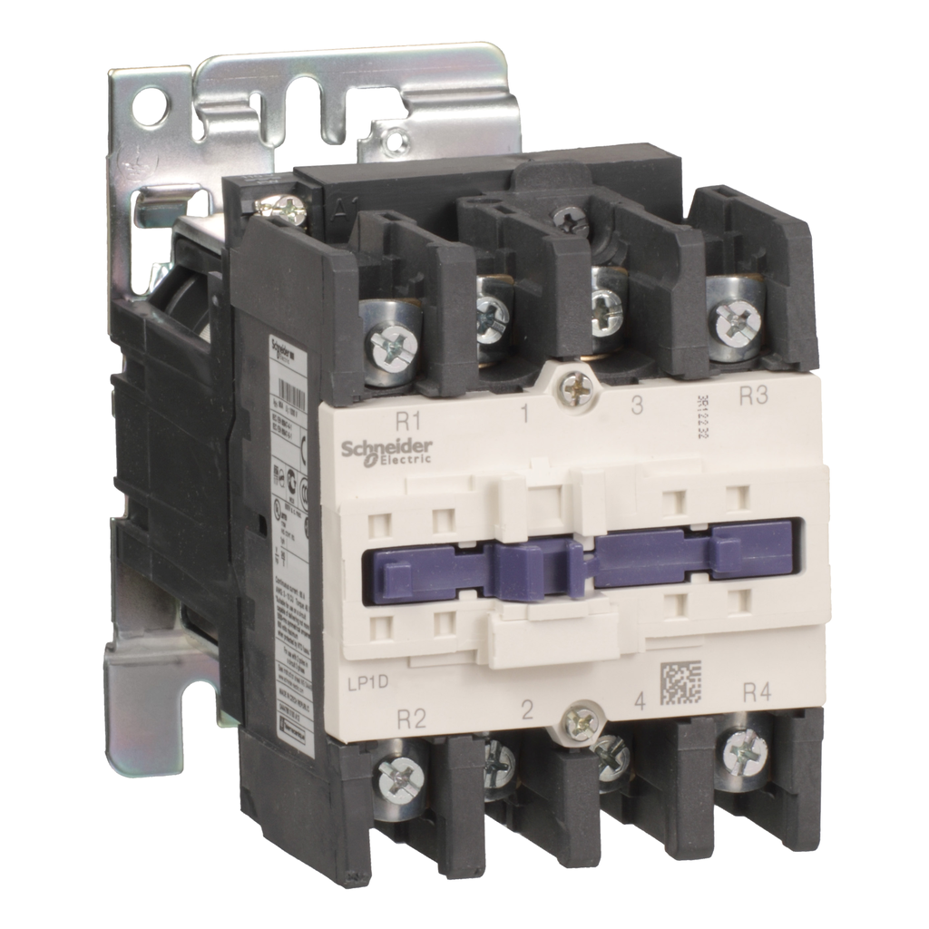 Mayer-IEC contactor, TeSys D, nonreversing, 125A resistive, 4 pole, 2 NO and 2 NC, 220VDC coil, open style-1