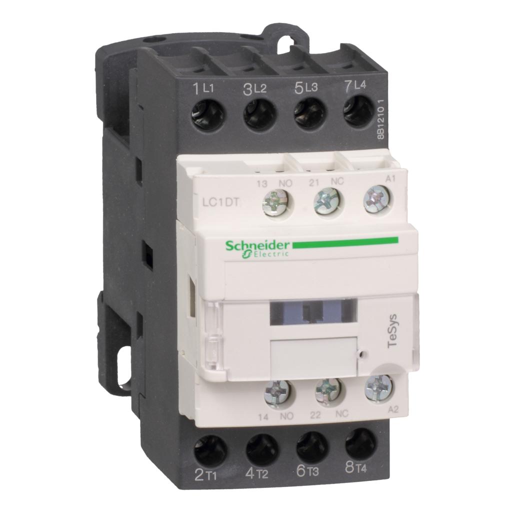 Mayer-IEC contactor, TeSys D, nonreversing, 20A resistive, 4 pole, 4 NO, 24VAC 50/60Hz coil, open style-1