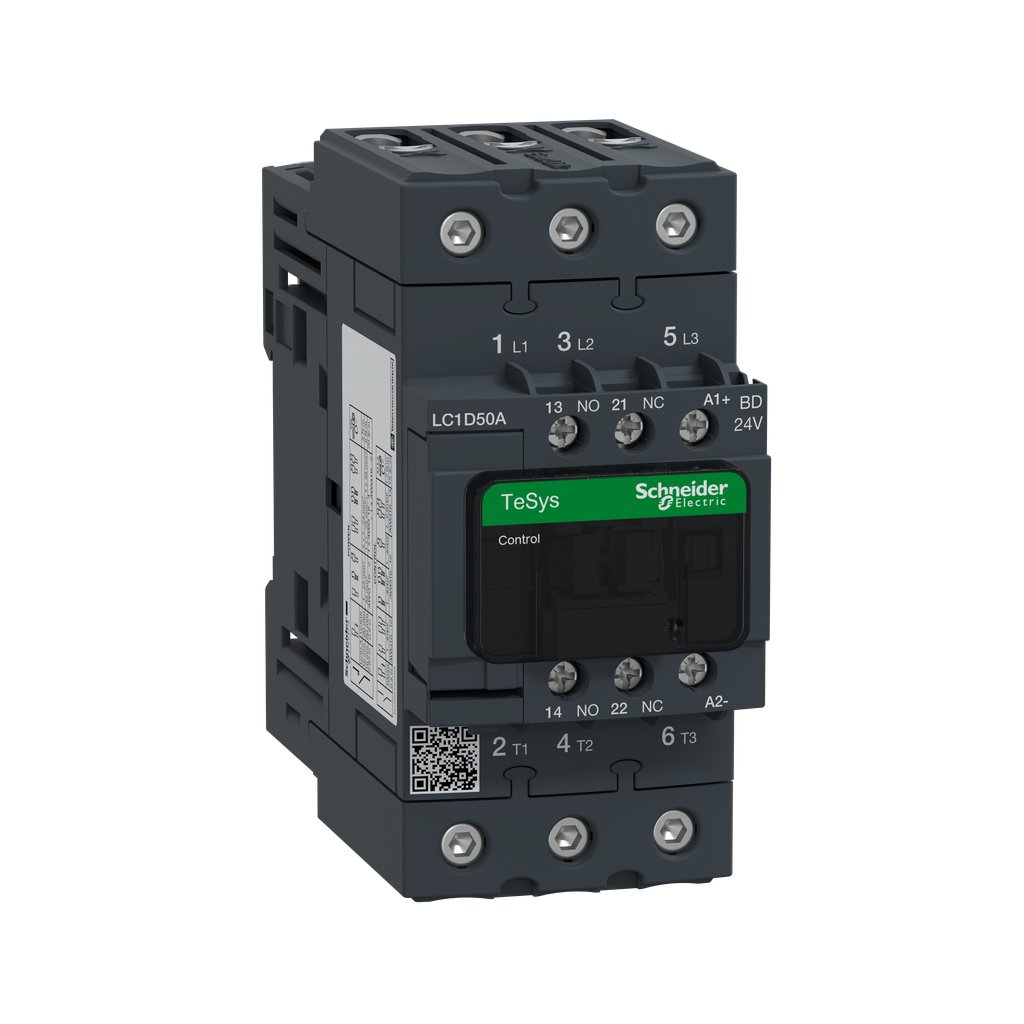 Mayer-IEC contactor, TeSys D, nonreversing, 50A, 40HP at 480VAC, up to 100kA SCCR, 3 phase, 3 NO, 24VDC coil, open style-1