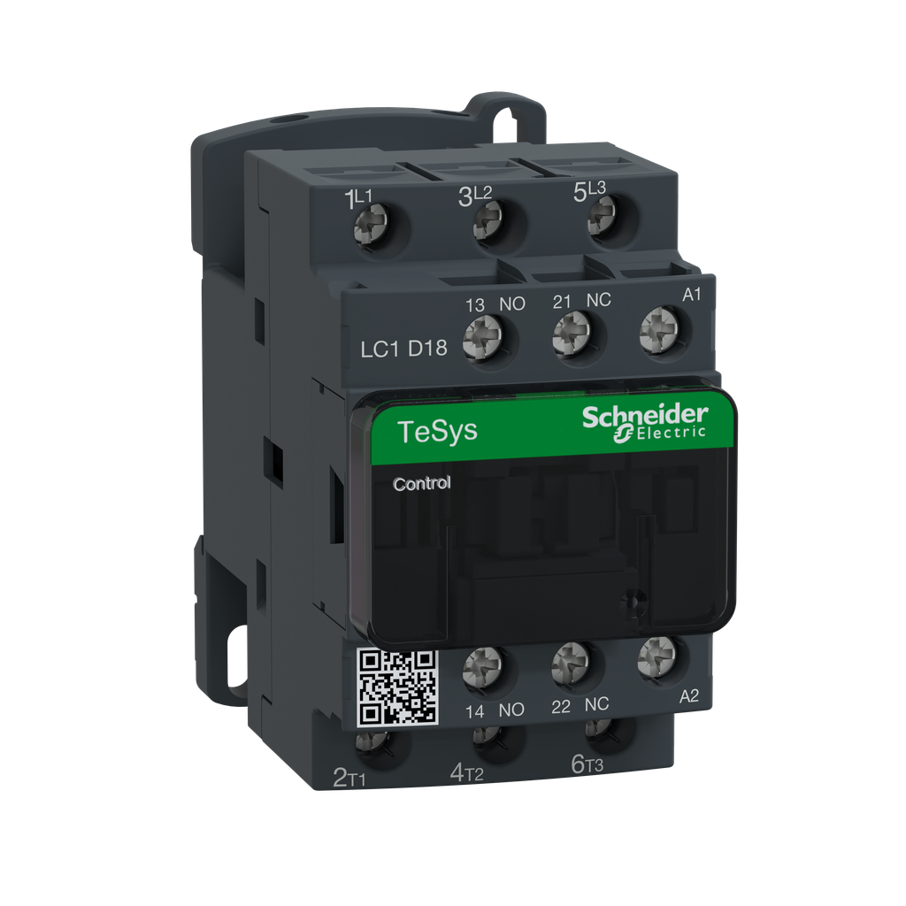 Mayer-IEC contactor, TeSys D, nonreversing, 18A, 10HP at 480VAC, up to 100kA SCCR, 3 phase, 3 NO, 24VAC 50/60Hz coil, open-1
