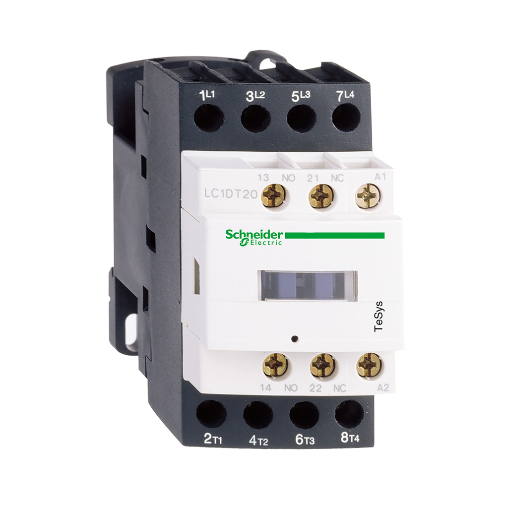 Mayer-IEC contactor, TeSys D, nonreversing, 25A resistive, 4 pole, 4 NO, 12VDC coil, open style-1
