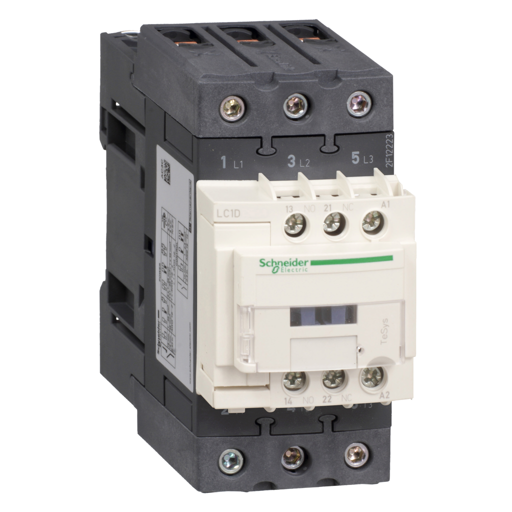 Mayer-IEC contactor, TeSys D, nonreversing, 40A, 30HP at 480VAC, up to 100kA SCCR, 3 phase, 3 NO, 440VAC 50/60Hz coil, open-1