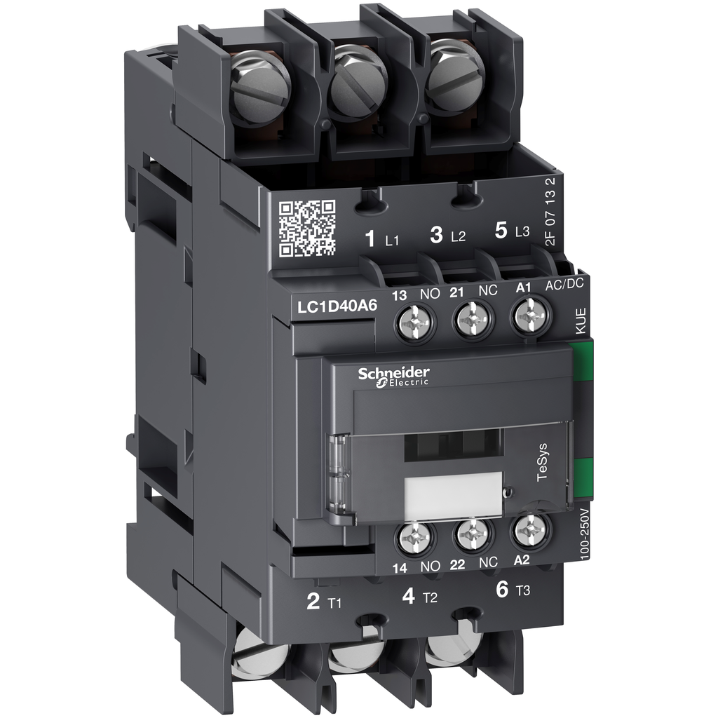 Mayer-IEC contactor, TeSys D Green, nonreversing, 40A, 30HP at 480VAC, 3 phase, 3 pole, 3 NO, 100/250VAC/VDC coil, open style-1