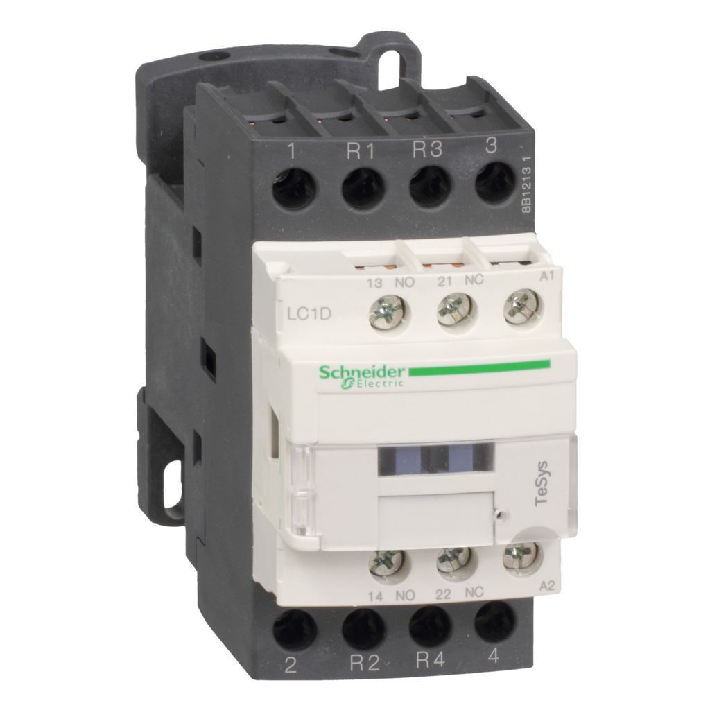 Mayer-IEC contactor, TeSys D, nonreversing, 40A resistive, 4 pole, 2 NO and 2 NC, 125VDC coil, open style-1