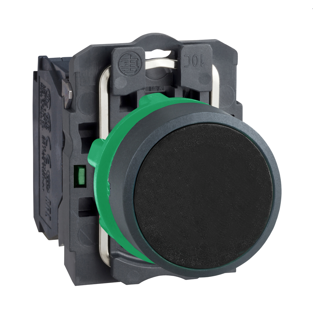 Mayer-Harmony XB5, Push button, plastic, flush, black, Ø22, spring return, unmarked, 1 NO-1