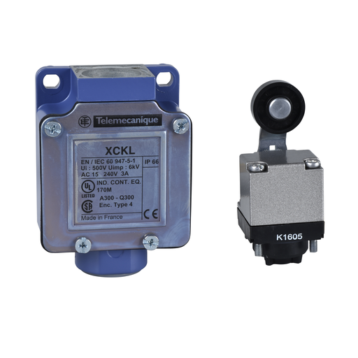 Mayer-Limit switch, Limit switches XC Standard, XCKL, thermoplastic roller lever, 1NC+1 NO, snap, Cable gland-1
