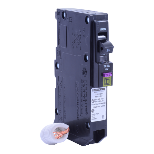 Mayer-Mini circuit breaker, QO, 20A, 1 pole, 120VAC, 10kA, dual function, pigtail, plug in mount-1