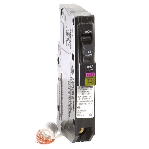 Mayer-Mini circuit breaker, QO, 15A, 1 pole, 120VAC, 10kA, dual function, pigtail, plug in mount-1