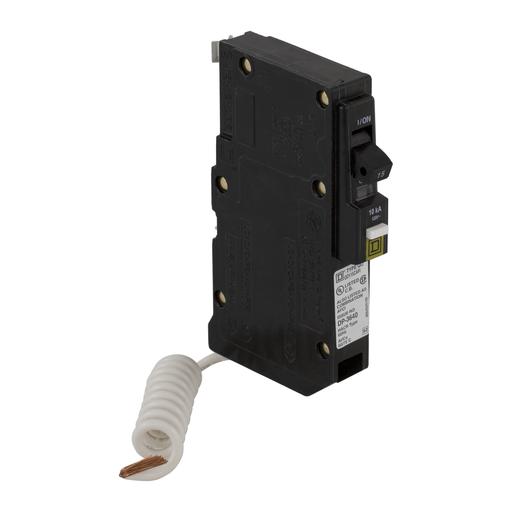 Mayer-Mini circuit breaker, QO, 15A, 1 pole, 120/240VAC, 10kA, combo arc fault, pigtail, plug in mount-1