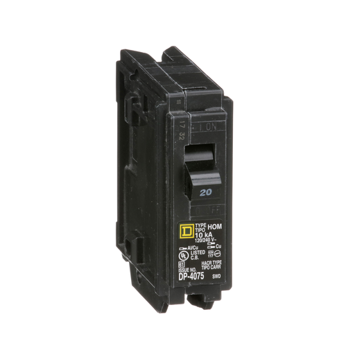 Mayer-Mini circuit breaker, Homeline, 20A, 1 pole, 120/240 VAC, 10 kA AIR, standard type, plug in mount-1