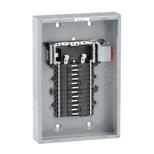 Mayer-Load center, QO, 1 phase, 24 spaces, 34 circuits, 125A convertible main lugs, PoN, NEMA1, gnd bar, UL-1