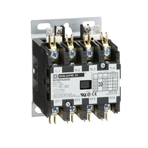 Mayer-Contactor, Definite Purpose, 30A, 4 pole, 20 HP at 575 VAC, 3 phase, 110/120 VAC 50/60 Hz coil, open-1