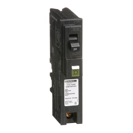 Mayer-Mini circuit breaker, Homeline, 20A, 1 pole, 120 VAC, 10 kA AIR, combo arc fault, plug on neutral, plug in mount-1