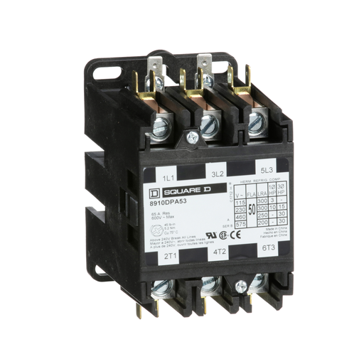 Mayer-Contactor, Definite Purpose, 50A, 3 pole, 30 HP at 575 VAC, 3 phase, 110/120 VAC 50/60 Hz coil, open-1