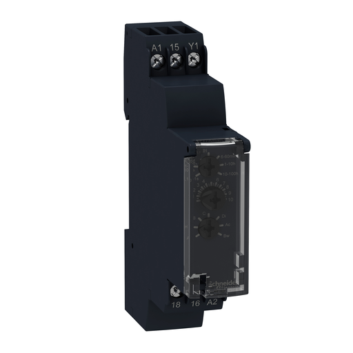 Mayer-Harmony, Modular timing relay, 8 A, 1 CO, 1 s..100 h, multifunction, 24 V DC / 24...240 V AC/DC-1