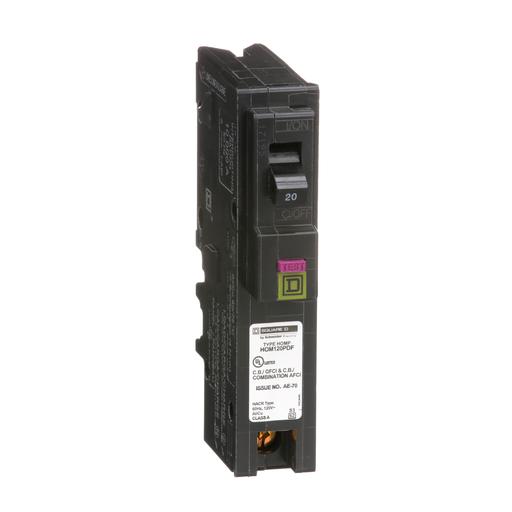 Mayer-Mini circuit breaker, Homeline, 20A, 1 pole, 120 VAC, 10 kA AIR, combo ARC/ground fault, plug on neutral, plug in mount-1