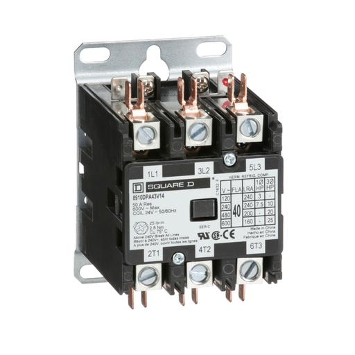 Mayer-Contactor, Definite Purpose, 40A, 3 pole, 25 HP at 575 VAC, 3 phase, 24/24 VAC 50/60 Hz coil, open-1
