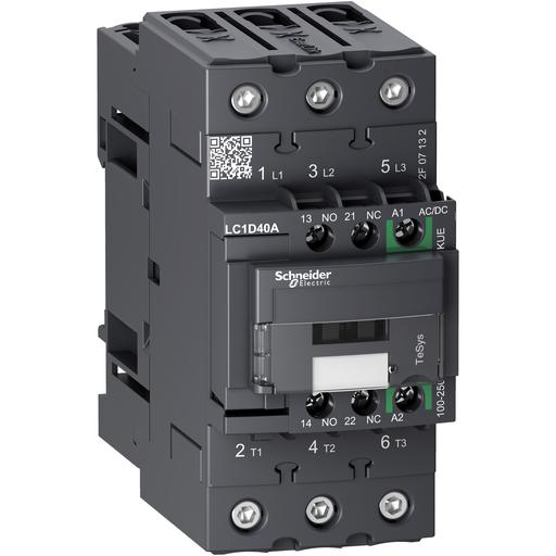 Mayer-IEC contactor, TeSys D Green, nonreversing, 40A, 30HP at 480VAC, up to 100kA SCCR, 3 phase, 3 NO, 100/250VAC/VDC coil-1