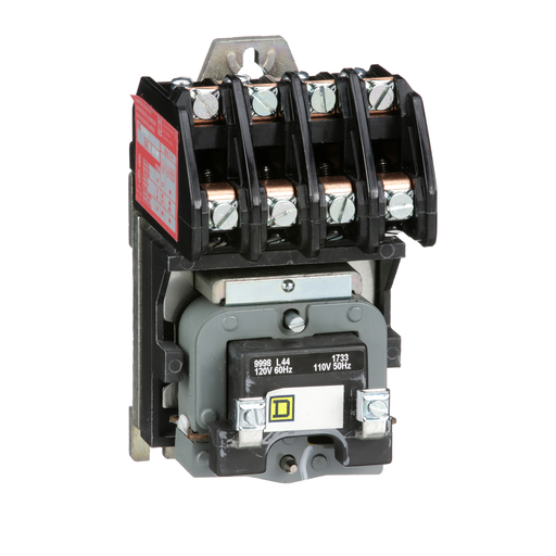 Mayer-Contactor, Type L, multipole lighting, electrically held, 30A, 4 pole, 600 V, 110/120 VAC 50/60 Hz coil, open style-1