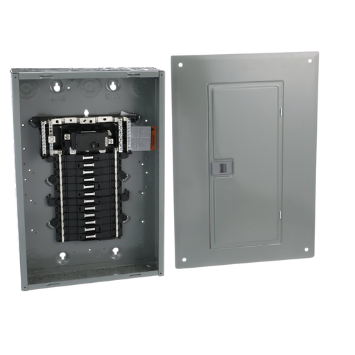 Mayer-Load center, QO, 1 phase, 24 spaces, 24 circuits, 100A convertible main breaker, PoN, NEMA1, combo cover, UL, value pack-1