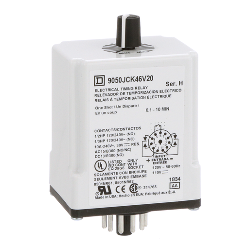 Mayer-Timing Relay, Type JCK, plug In, one shot, adjustable time, 0.1 to 10 minutes, 10A, 240 VAC, 120 VAC/110 VDC-1
