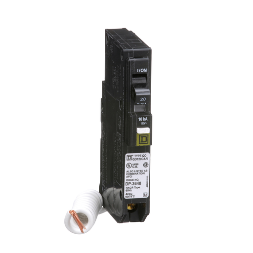 Mayer-Mini circuit breaker, QO, 20A, 1 pole, 120/240VAC, 10kA, combo arc fault, pigtail, plug in mount-1