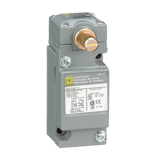 Mayer-limit switch, 9007C, full body, rotary lever arm head, neutral position, spring return, 2 NO and 2 NC, NEMA 4 and 13-1